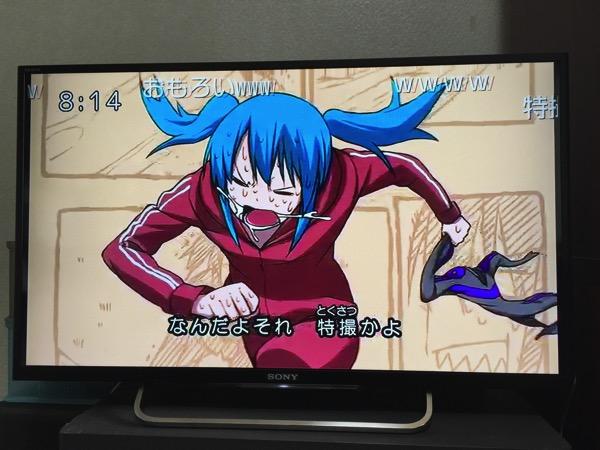 テレビでニコニコ動画を見ている