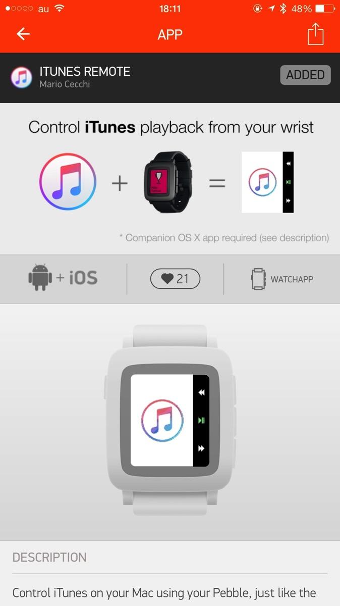 Pebble Timeアプリのインストール画面