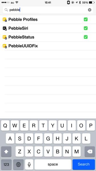 CydiaでPebbleと検索