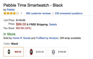 今なら初代Pebble TimeがAmazon.comで99ドル!?