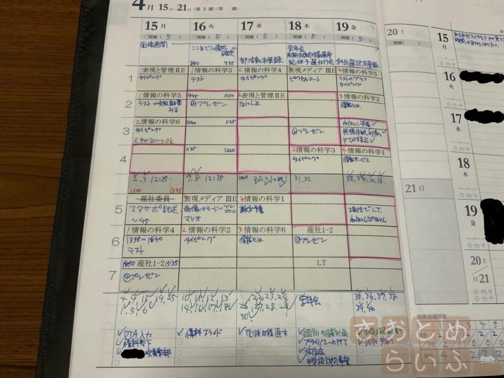 週間計画表の左ページ部分